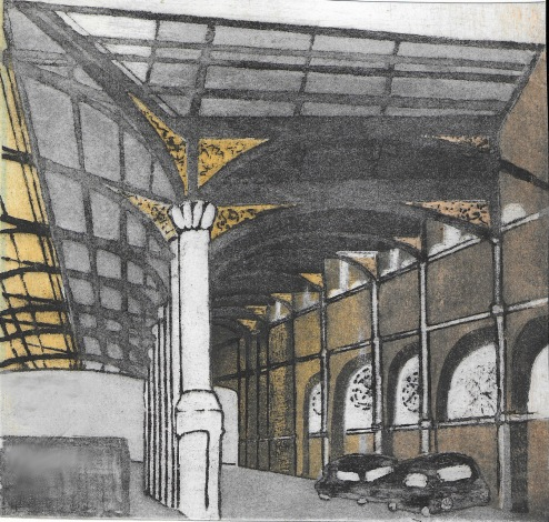 Liverpool St Station, 21x19cm, £100 unframed